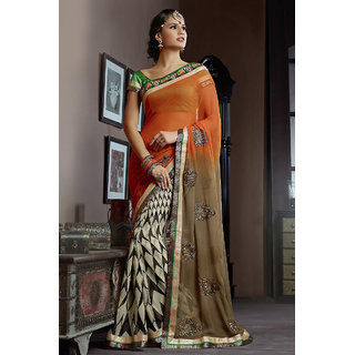 in trend Orange Colored Chiffon Saree With Attractive Work