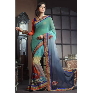 Alluring Blue Colored Chiffon Half-Half Saree