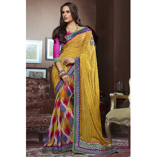 Charming Yellow Georgette Party Wear Saree