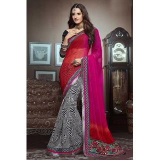 Chic Lovely Pink Georgette Half-Half Saree