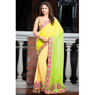 Elegant Yellow Colored Charming Party Wear Saree