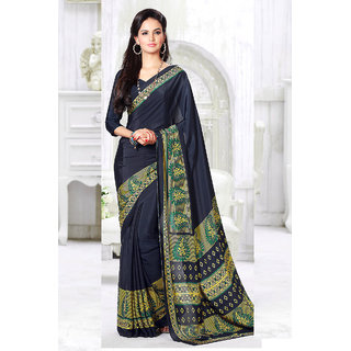 Statuesque Black Printed Crepe Saree