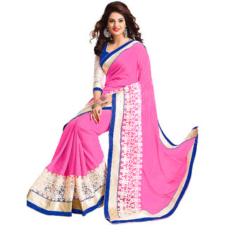 Conspicuous Pink Net Designer Wear Saree