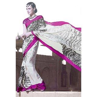 Transluscent Gorgeous White Silk Crepe Printed Saree