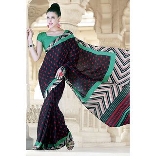Traditional Chic Black Silk Crepe Printed Saree