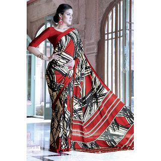 Sizzling Elegant Red Silk Crepe Printed Saree