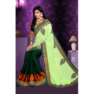 In The Mainstream Green Georgette Haf-Half Saree