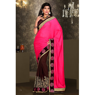 In Vogue Beautiful Pink Viscose Party Wear Saree
