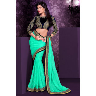 Jazzy Green Satin Saree With Lace Border Work