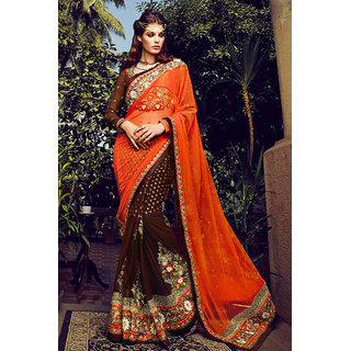 Radiant Stylish Orange Party Wear Net Saree