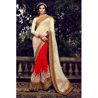 Rakish Off White Colored Net Party Wear Saree