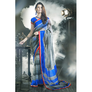 Staggering Grey And Blue Georgette Saree.EBS1028444019