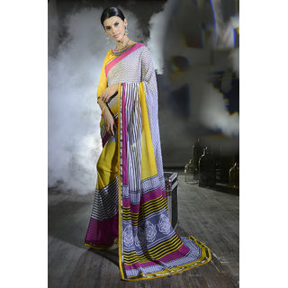 Sophisticated Off White And Yellow Georgette Saree.EBS1028444004