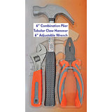 "3PC MIX TOOL SET 6"" PLIER , TUBULAR CLAW HAMMER , 6""ADJUSTABLE WRENCH"