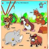 Skilofun Junior Identification Tray With Knobs Wild Animals Ii