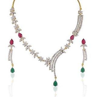 Heena Charm Holder Multicolour Stones Round Necklace Set