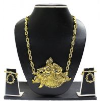 Zaveri Pearls Gold Plated Golden  Silver Necklace Set For Women