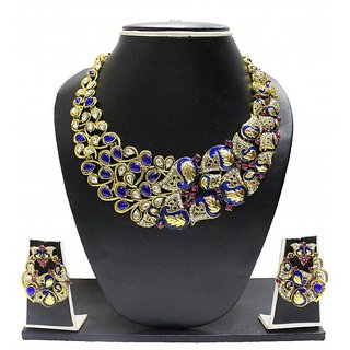 Zaveri Pearls Gold Plated Blue & Gold Alloy Necklace Set For Women
