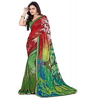 Surat Tex Green Georgette Casual Wear Printed Sarees With Unstitched Blouse