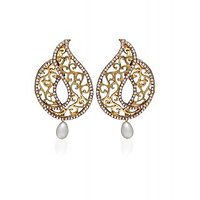Zaveri Pearls Golden Curves Hanging Earring