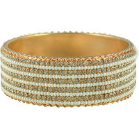 Sparkling Golden Plated Bangle With White Pearl and Stone