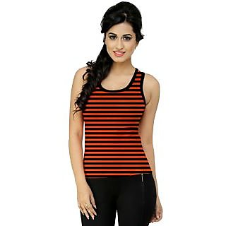 Black n Orange Sleeveless Top