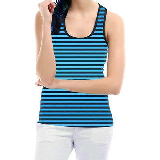 Black n Turquoise Stripes Sleeveless Top