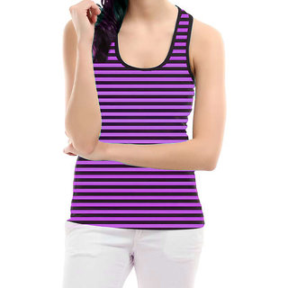 Black n Purple Stripes Sleeveless Top
