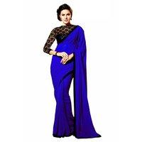 Janasya Blue Brocade Plain Saree With Blouse