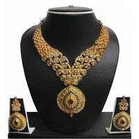 Zaveri Pearls Non Plated Multicolor Alloy Necklace Set For Women