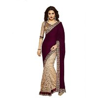 Janasya Maroon And Cream Saree With Unstitched Blouse