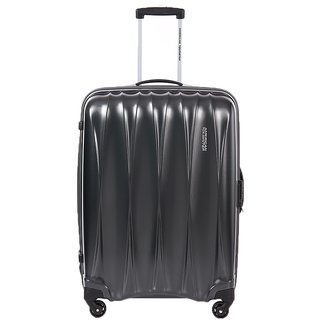 American Tourister Small (Below 60 cms) Silver Polyester 4 Wheels Trolley