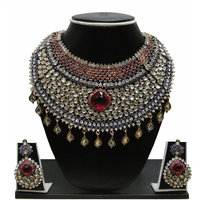 Zaveri Pearls RedGolden Alloy Gold Plated Necklace Set For Women