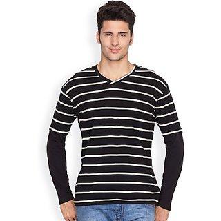 Hypernation Black and White Stripped T-Shirts For Men