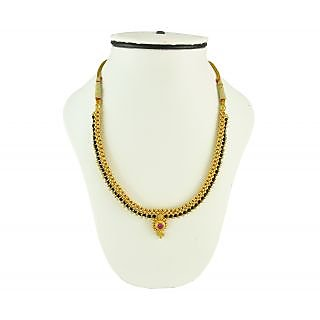 Womens Trendz Full Jhalar Black Crystal Thushi Mangalsutra