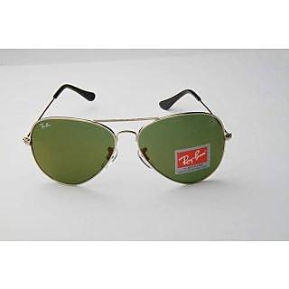 Unisex Aviator Sunglasses (Silver Frame & Green Lens)