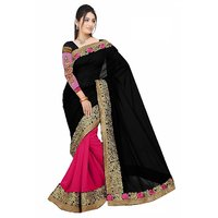 Janasya Black And Pink Saree With Unstitched Blouse