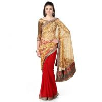 Janasya Red and Cream Saree with Unstitched Blouse