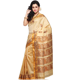 Uppada Pure Cotton And Silk Sarees Golden And Beige