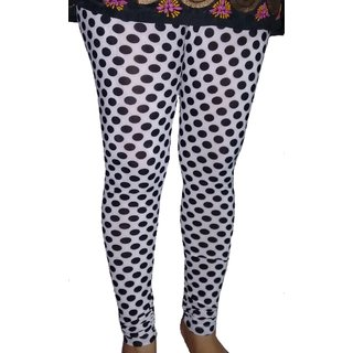 SANVAN Printed  Stretchable Synthetic B/W Dotted Leggings