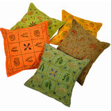 Hand Embroidered Multicolor Cushion 5 Pc. Set Indian Cushion Cover