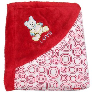 Garg Teddy Love Fur Design Polar Fleece Red Blanket with Hood