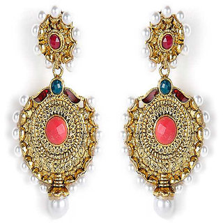 Shining Diva Oval Shaped Hanging Earrings