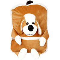 Deals India Kids Shoulder Dog Face Bag With Brown  White Colour (38 x 30 x 10 cm)(bag4)