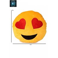 Deals India Yellow Heart Eyes Smiley Cushion - 35 cm(smiley1)