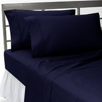 Super Soft Navy Blue Solid Bed Sheet With 2 Pillow Covers In Double Size