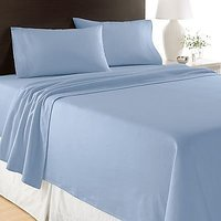 Super Soft Blue Solid Bed Sheet With 2 Pillow Covers In Double Size