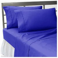 Super Soft Egyptian Blue Solid Bed Sheet With 2 Pillow Covers In Double Size