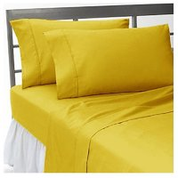 Super Soft Gold Solid Bed Sheet With 2 Pillow Covers In Double Size