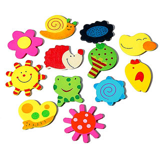 ShaRivz Wooden Fridge Magnet - 12 Pcs